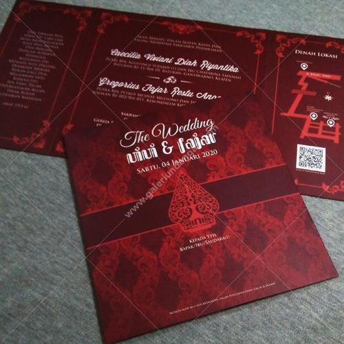 Undangan Batik Gunungan Merah Maroon